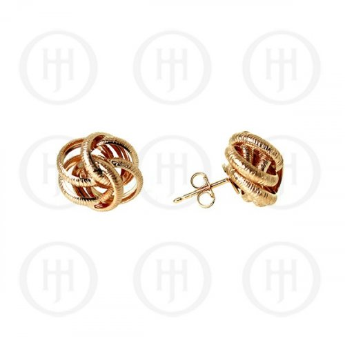 Silver Rose Colour Plated Satin Finish Stud Earrings (ST-1076-R)