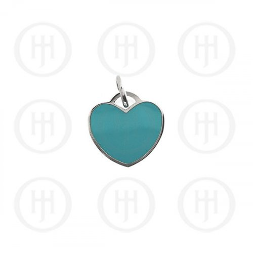 Silver Assorted Tiffany Inspired Turquoise Heart Dog-Tag Pendant 15mm (DT-H-100-T)
