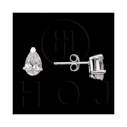 Silver Assorted CZ Stud Earrings Pear Shaped 4 x 6mm (ST-1027-D)