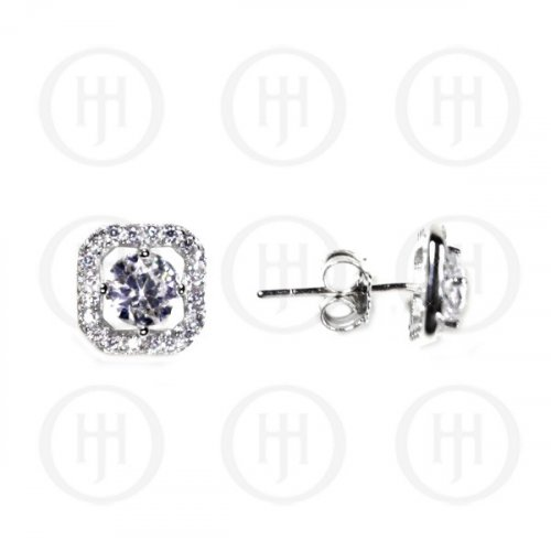 Silver CZ Assorted Halo Stud Earrings 8X8mm (ST-1089)