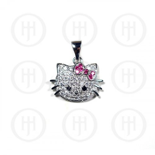Silver Hello Kitty Inspired CZ Charm Pendant (P-1225)