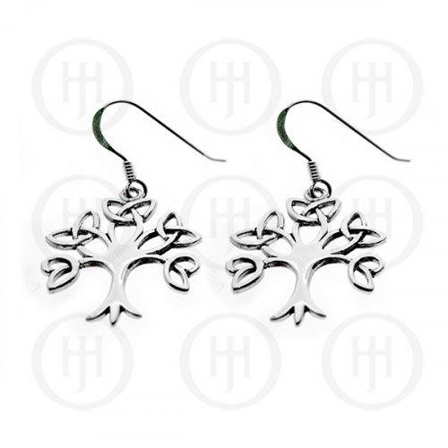 Plain Sterling Silver Celtic Tree of Life Dangle Earrings (ER-1109)