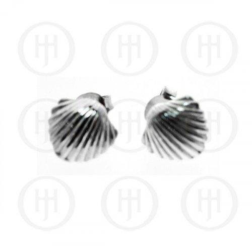 Silver Plain Seashell Stud Earrings (ST-1101)