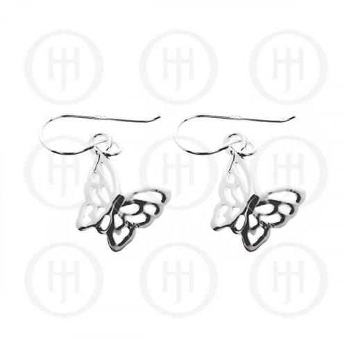 Silver Plain Butterfly Dangle Earrings 9 mm (ER-1102)