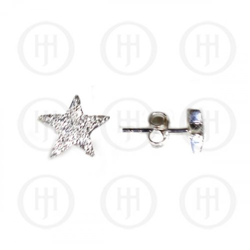 Silver CZ Star Stud Earrings (ST-1088)