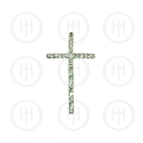 Silver CZ Cross Religious Pendant (CR-1036)