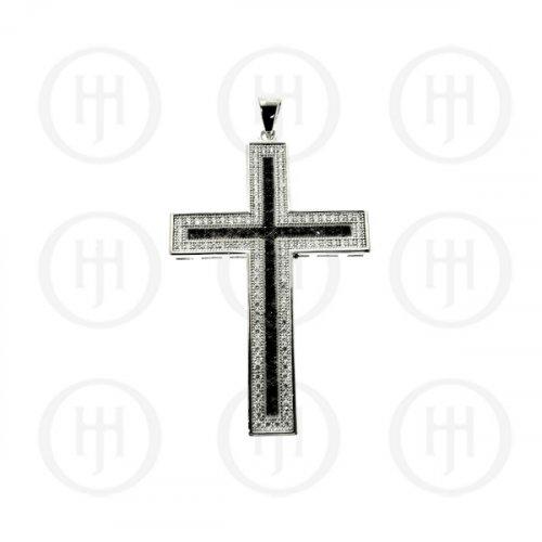 Silver Micro Pave Black & White CZ Religious Cross Pendant (CR-1050-B)