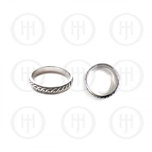 Silver Plain Single Band Men's Twisted Ring (RM-046)