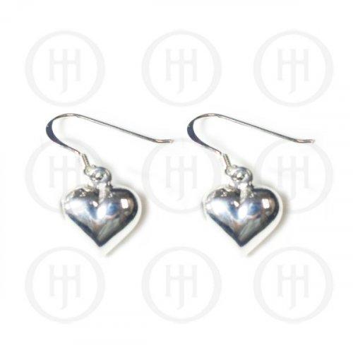 Silver Plain Dangle Heart Earrings (ER-1106)