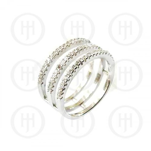 Silver Plain triple Layer CZ Ring (R-1211)
