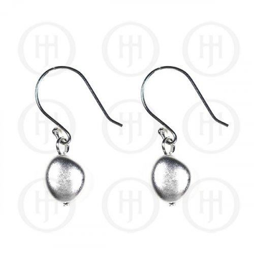 Sterling Silver Plain Oval Dangle Earring (ER-1114)