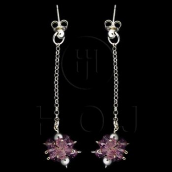 Silver CZ Dangle Earrings (CEB-01)