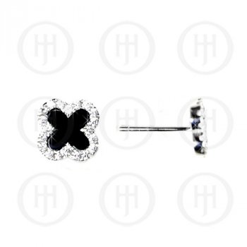 Sterling Silver Designer Inspired Vancleef Black Stud Earrings (ST-1072-B)
