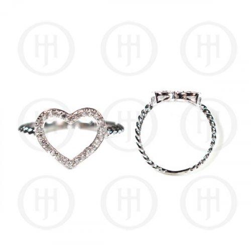 Silver Plain CZ Heart Ring (R-1225)