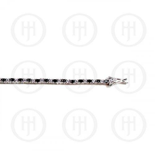 Silver Plain CZ Single Row Black Stone Tennis Bracelet (BR-CZ-109-S)