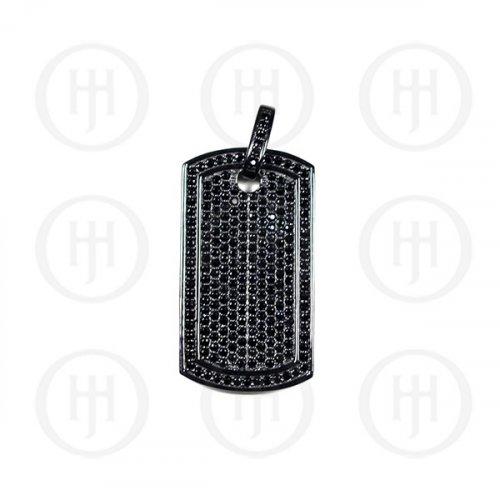 Silver Plain Black CZ Dog-Tag Pendant (DT-107-B)