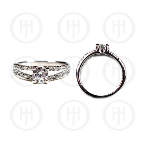 Silver Plain Round CZ Double Bend Ring (R-1235)