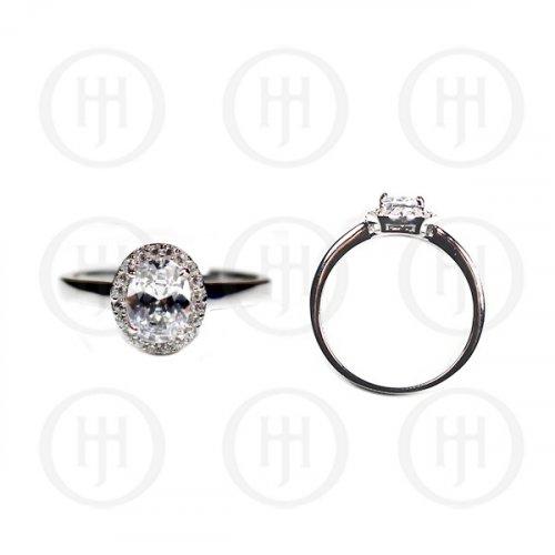 Silver Plain CZ Oval Ring (R-1226)
