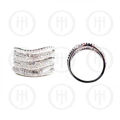 Silver Plain CZ Multi-Layer Ring(R-1216)