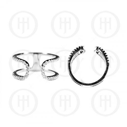 Silver Rhodium Plated CZ Double Cuff Ring (R-2376)