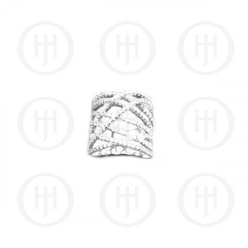 Silver Plain Cross Hatch Ring (R-1213)