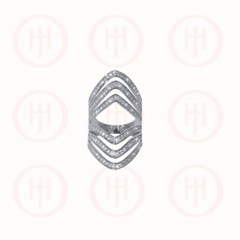 Silver Rhodium Plated CZ 3 Layer Chevron Mirrored Ring (R-1295)