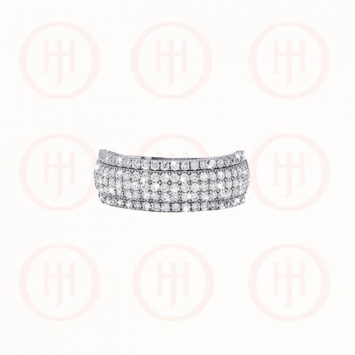 Silver Rhodium Plated Micro Pave Band Ring (R-1167)