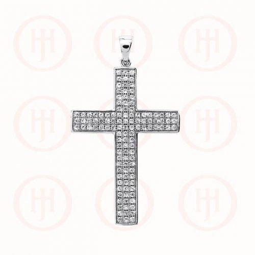 Silver CZ Religious Cross Pendant (CR-1043-W)