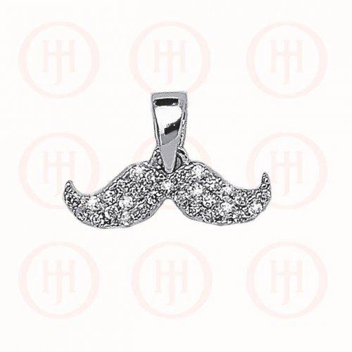 Silver CZ Mustache Charm Pendant (P-1219)