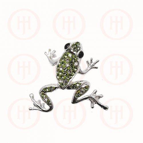 Silver CZ Swarovski Green Frog Pendant (P-1244)