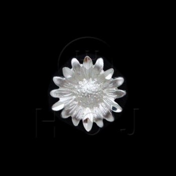 Silver Diamond Cut Flower Charm (C4370)