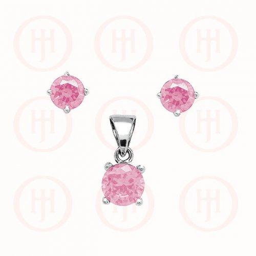 Silver Round Cut Pink Tourmaline CZ Earring Pendant Set (PS-1028-PT)
