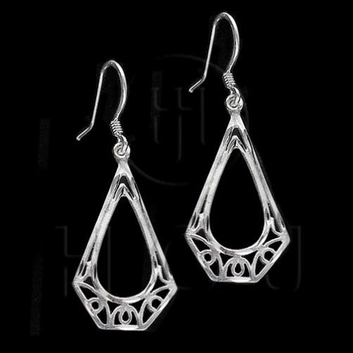 Silver Plain Dangle Earrings (ED1073)