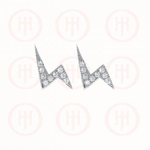 Sterling Silver CZ Lightning Stud Earrings (ST-1148)