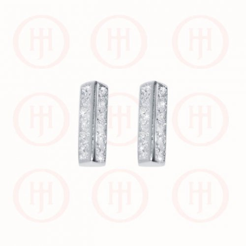 Silver Rhodium Plated Double CZ Bar Stud Earring (ST-1151)