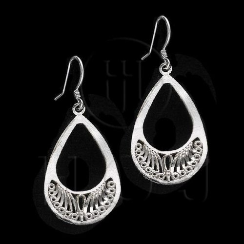 Silver Plain Dangle Earrings (ED1112)