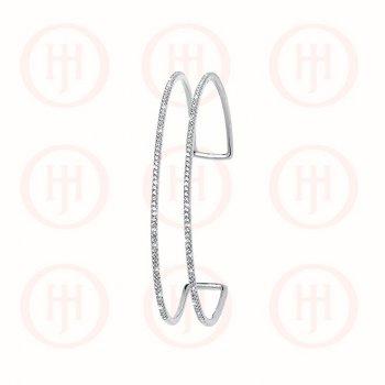 Sterling Silver Double Layer CZ Cuff Bangle (IB-1037)