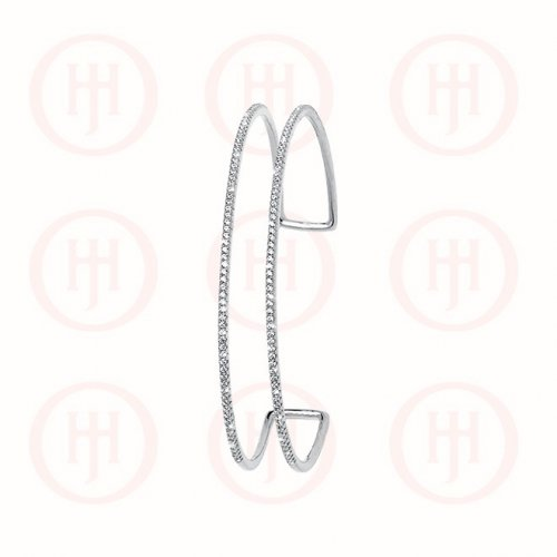 Sterling Silver Double Layer CZ Cuff Bangle (IB-1037)
