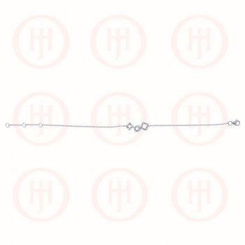 Silver Rhodium Plated Linked CZ Squares Bracelet (BR-1103)