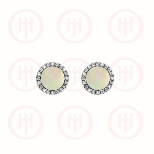 Silver Rhodium Plated Round CZ Vancleef Stud Earrings, White (ST-1103-W)