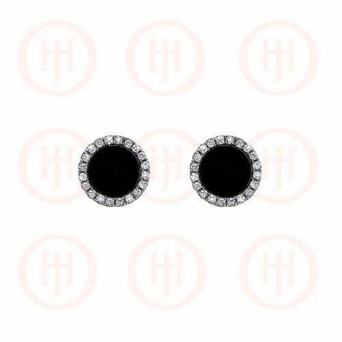Silver Rhodium Plated Round CZ Vancleef Stud Earrings, Black (ST-1103-B)