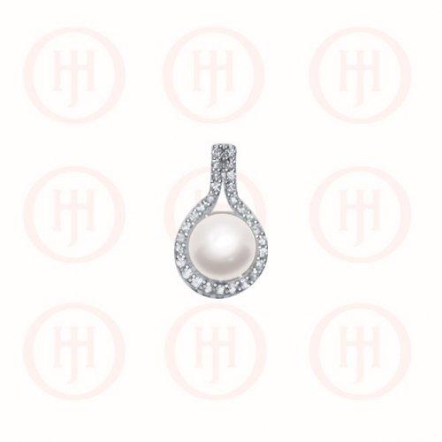 Silver Rhodium Plated Pearl in Raindrop CZ Pendant (P-1251)