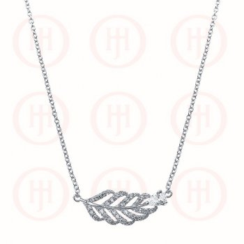 Sterling Silver CZ Feather Necklace (N-1039)