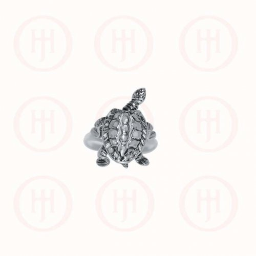 Plain Sterling Silver Movable Turtle Ring (R-1259)