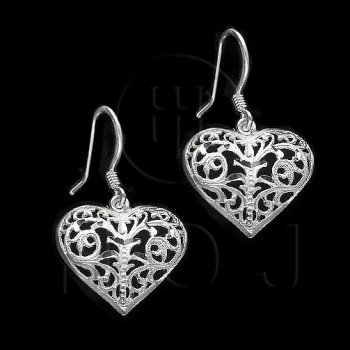 Silver Plain Dangle Earrings Heart (ED1269)