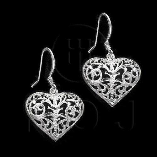 Silver Plain Dangle Earrings Heart (ED1269)