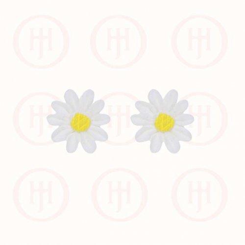Silver Acrylic Daisy Stud Earring (ST-1095)
