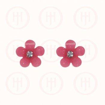 Silver Assorted Acrylic CZ Flower Stud Earring, Magenta (ST-1134-M)