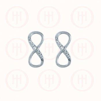 Sterling Silver Half CZ Infinity Stud Earring (ST-1066)