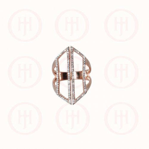 Silver Rose Gold Plated Long CZ Cuff Ring (R-1267-R)